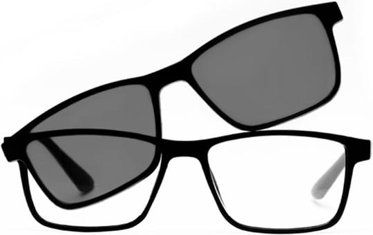Z-Zoom Reading glasses with frame/temples colour Black Matt Special feature: With Clip-On Sunglasses, +1.00