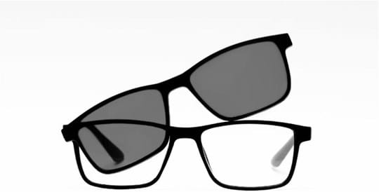 Z-Zoom Reading glasses with frame/temples colour Black Matt Special feature: With Clip-On Sunglasses, +3.00