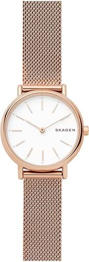 Skagen Signatur Ladies watch, case: stainless steel,rose gold, strap colour: rose gold, strap material: stainless steel, dial: white, movement: quartz/2 hand