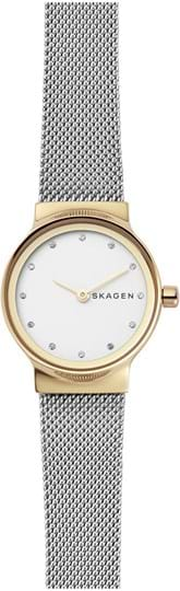 Skagen Freja Ladies watch, case: stainless steel,gold, strap colour: silver, strap material: stainless steel, dial: white, movement: quartz/2 hand