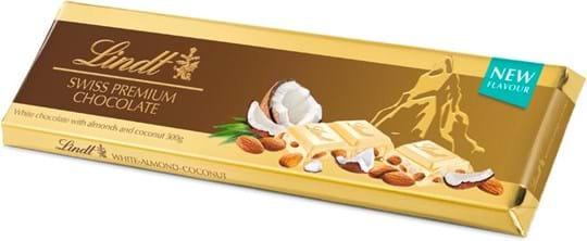 Lindt guldplade med hvid chokolade med kokos/mandel 300g