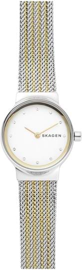 Skagen Freja Ladies watch, case: stainless steel,silver, strap colour: 2 tone, strap material: stainless steel, dial: silver, movement: quartz/2 hand
