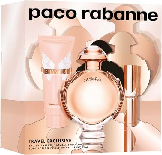 Paco Rabanne Olympéa Set cont.: Eau de Parfum Spray 80 ml (GH 1141720) + Body Lotion 75 ml + Travel Spray 10 ml (Limited Edition)