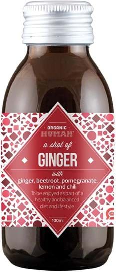 Organic Human Organic healthy ginger shot in glass bottle