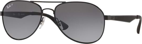 Ray Ban Men's Sunglasses with a frame made of metal in black and lenses made of polycarbonate in gradient, polarized grey