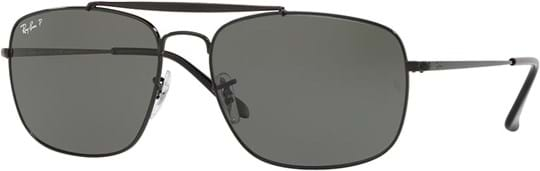 Ray Ban Men's Sunglasses with a frame made of steel in black and lenses made of glass in polarized green