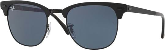 Ray Ban Unisex Sunglasses with a frame made of metal in black and lenses made of glass in blue
