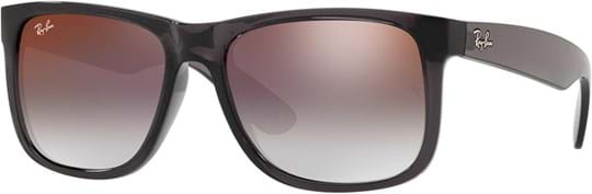 Ray Ban Men's Sunglasses with a frame made of nylon in grey and lenses made of polycarbonate in mirrored grey