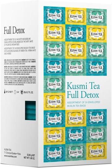 Assortment of 24 enveloped muslin tea bags of flavoured blends of green tea, yerba mate and herbal tea.