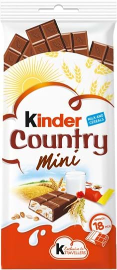 Kinder fine milk chocolate with cereals and a smooth milky filling 100g