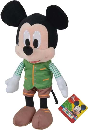 Disney The 25cm tall Bavarian Mickey has taken his fitting outfit out of the wardrobe for the Oktoberfest. He wears a green vest and great brown leather pants. Mickey is made of soft plush and suitable for children from the first months of life.