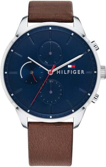 Tommy Hilfiger CHASE Mens watch, case: stainless steel, silver (44 mm), strap color: brown, strap material: leather, dial: blue, movement: quartz/multifunction, 5 ATM