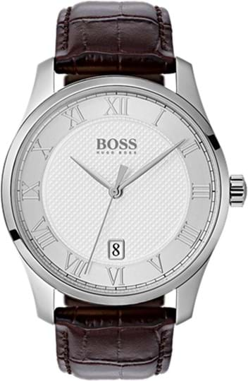 Boss Master Mens watch, case: stainless steel, silver (41 mm), strap color: brown, strap material: leather, dial: silver, movement: quartz, 3 ATM