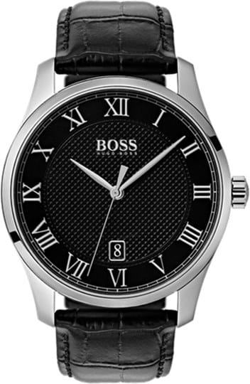 Boss Master Mens watch, case: stainless steel, silver (41 mm), strap color: black, strap material: leather, dial: black, movement: quartz, 3 ATM