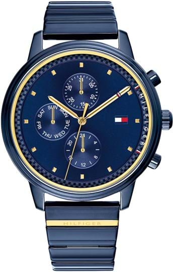 Tommy Hilfiger Blake Ladies watch, case: steel, blue (38 mm), strap color: blue, strap material: steel, dial: blue, movement: quartz/multifunction, 3 ATM