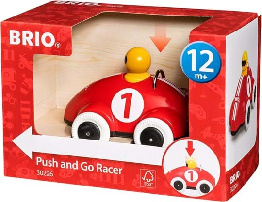 BRIO Just seeing it will make your fingers itch to grab it, feel it and make it roll along the floors of your home.Push down the driver and off the car goes!The Push & Go Racer offers fun and excitement that also stimulates activity and fine motor skills.