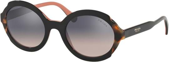 Prada Women's Sunglasses with a frame made of acetate in black and lenses made of polyamide standard in gradient, mirror, silver
