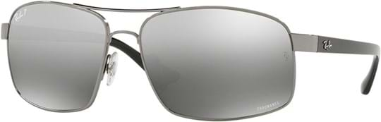 Ray Ban Men's Sunglasses with a frame made of metal in silver and lenses made of policarbonate polarized in gradient, mirror, grey
