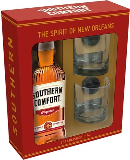 Southern Comfort Original, giftpack with 2 glasses & 2 ice cubes