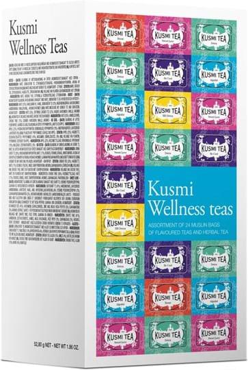 Et sortiment af 24 musselin-tebreve med aromatiseret te og urtete