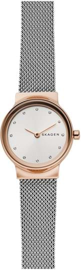 Skagen Freja Ladie's watch, case: stainless steel,rose gold, strap color: silver, strap material: stainless steel, dial: silver, movement: quartz/2 hand