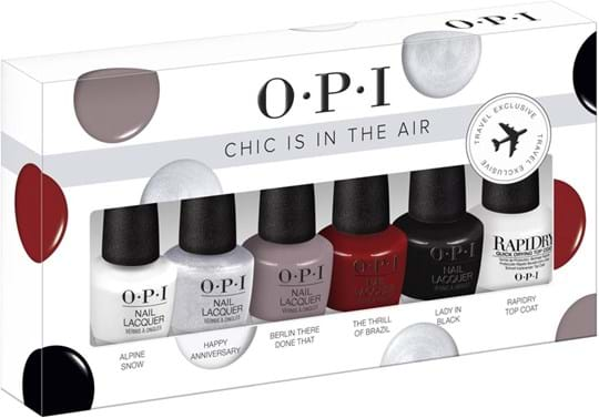 OPI Nail Set Chic is in the Air Set cont.: Alpine Snow 3,75 ml + Happy Anniversary 3,75 ml + Berlin There Done That 3,75 ml + The Thrill of Brazil 3,75 ml + Lady in Black 3,75 ml + RapidDry Top Coat 3,75 ml