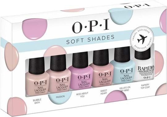 OPI Nail Set Soft Shades Set cont.: Bubble Bath 3,75 ml + Passion 3,75 ml + Mod About You 3,75 ml + Sweet Heart 3,75 ml + Gelato on My Mind 3,75 ml + RapidDry Top Coat 3,75 ml