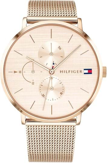 Tommy Hilfiger Jenna Women's watch, case: stainless steel, gold, 40 mm, strap colour: gold, strap material: stainless steel, dial: blush,movement: quartz