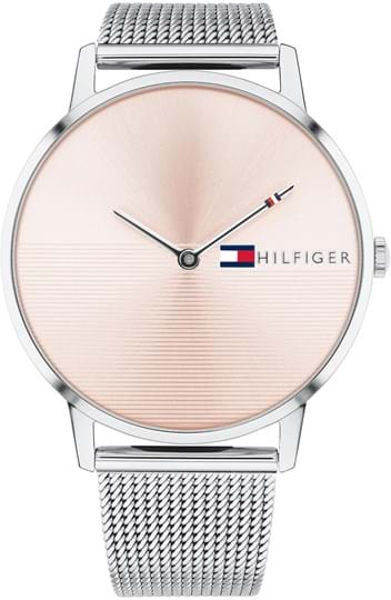 Tommy Hilfiger Alex Women´s watch, case: stainless steel, silver, 40,5 mm, strap color: silver, strap material: stainless steel, dial: pink, movement: Quarz / quartz