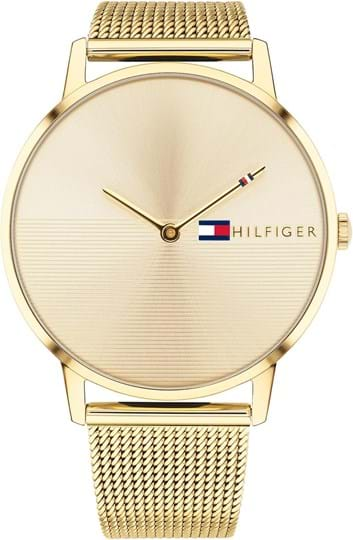 Tommy Hilfiger Alex Women's watch, case: stainless steel, gold, 40,5 mm, strap colour:gold, strap material: stainless steel, dial: gold, Uhrwerk: Quarz