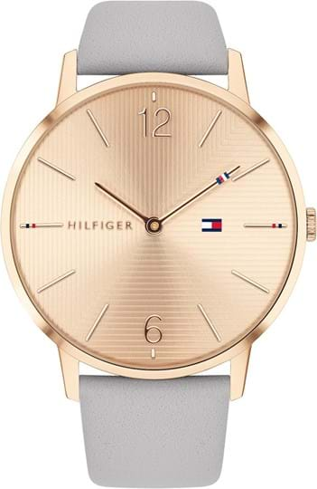 Tommy Hilfiger Alex Women's watch, case: stainless steel, gold, 40 mm,5, strap colour:grey, strap material: leather, dial: gold, movement: quartz