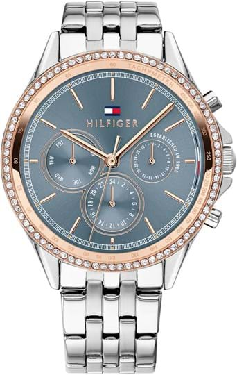 Tommy Hilfiger Ari Women's watch, case: stainless steel with crystals, two-tone, 39,8 mm, strap colour: silver, strap material: stainless steel, dial: blue, movement: quartz