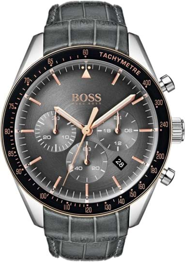 Boss Trophy Men´s watch, case: stainless steel, silver, 44 mm, strap color: grey, strap material: calfskin, movement: quartz chronograph