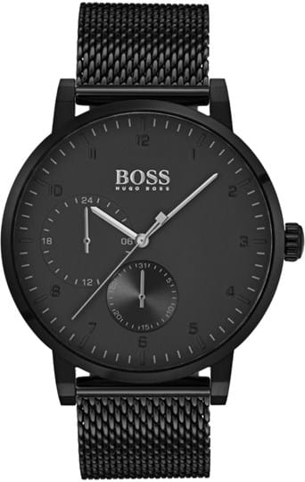 Boss Oxygen Men´s watch, case: IP steel, black, 42 mm, strap color: black, strap material: ionic plated steel, movement: quartz others