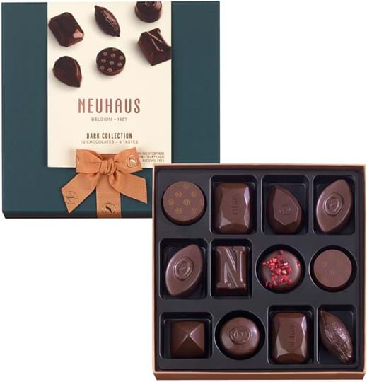 Neuhaus pralines in a carton packaging