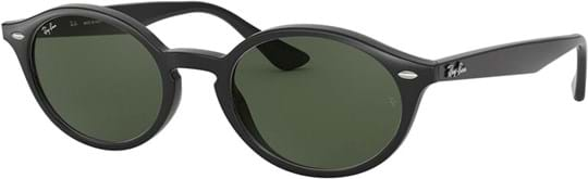Ray Ban Sunglasses with a frame made of plastic in black and lenses made of polycarbonate in green