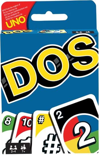 Mattel Games UNO™ has a new best friend, DOS™! In this fun card game, two is more important than one, and number matching is king! Just like UNO™, DOS™ involves a race to be the first to get rid of your cards. To start, there are two discard piles between the playe