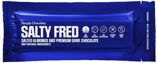 Simply Chocolate Chocolate bar with salted almonds covered in dark chocolate (60%) 40g