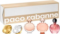 Paco Rabanne Coffret-skrin indeholder: Lady Million Edp 5 ml + Lady Million Lucky 5 ml + Olympea 6 ml + Olympea Intense 6 ml + Pure Xs For Her Edp 6 ml