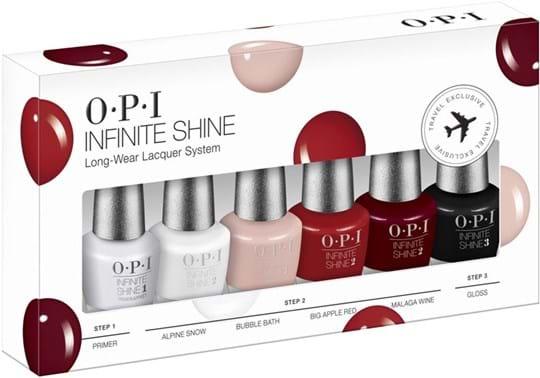 OPI Nail Set Infinite Shine Set cont.: Primer 3,75 ml + Bubble Bath 3,75 ml + Alpine Snow 3,75 ml + Bubble Bath 3,75 ml + Big Apple Red 3,75 ml + Malaga Wine 3,75 ml + Gloss
