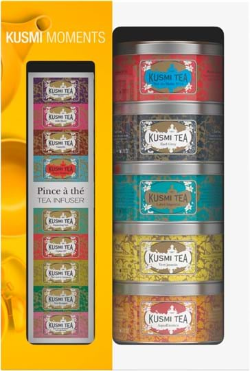 Kusmi Tea Gift set containing 5 miniatures of flavoured teas and herbal tea + infuser spoon