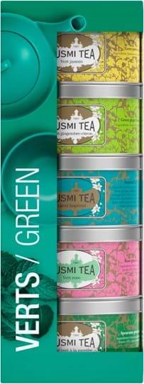 Kusmi Tea-gavesæt med 5 miniatureudgaver af grøn te med smag og en tesi