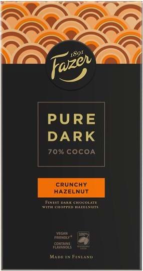 Fazer Pure Chocolate with chopped hazelnuts (8%).