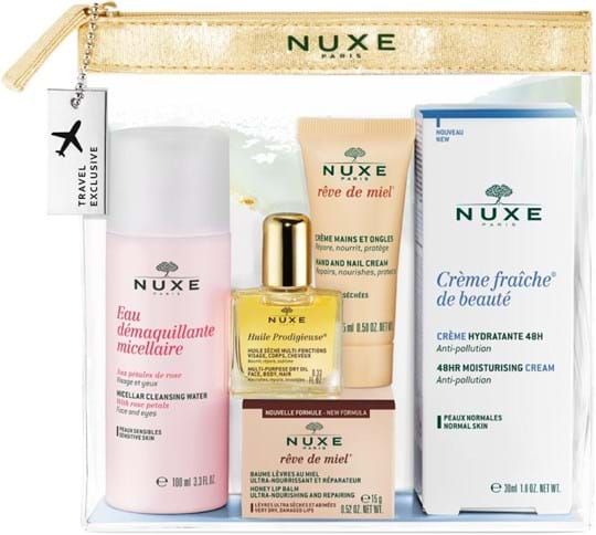 "Nuxe Skincare Set ""Best-of"" Collection Set cont.: Crème Fraiche NS 30 ml + Rêve de Miel lip balm 15 g + Micellar cleansing water 100 ml + Huile Prodigieuse 10 ml + Rêve de Miel hand cream 15 ml"