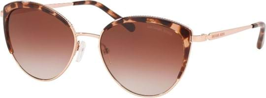 Michael Kors Sexy Women's Sunglasses with a frame made of metal in rose gold and lenses made of plastic in brown gradient