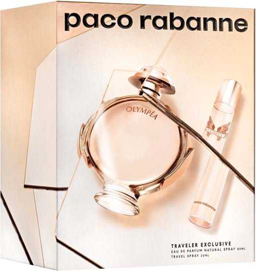 Paco Rabanne Olympéa Set cont.: Eau de Parfum 80 ml (GH 1141720) + Travel Spray 20 ml (for free)