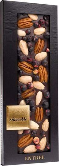 ChocoMe Dark chocolate bar with Pecannuts, sicilian almondsand blackcurrant