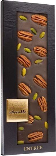 ChocoMe mørk chokoladebar med pekaner, pistacie fra Bronte og havsalt 110g