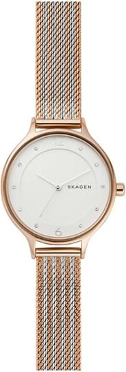 Skagen Anita Ladies watch, case: stainless steel, rosegold, 30mm, strap colour: bicolor, strap material: stainless steel, dial: white , movement: quartz/3 hands