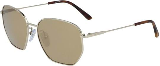 Calvin Klein Sunglasses with a frame made of metal in gold and lenses made of plastic in gold